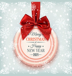 merry christmas and happy new year 2021 badge vector image