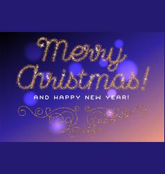 Merry christmas lettering gold glitter font vector