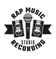 Microphone and speakers rap music emblem vector
