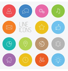 Modern circle thin line icon set vector