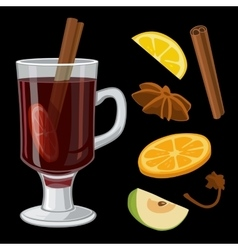 Mulled wine with glass of drink and ingredients vector
