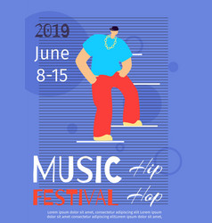music dance hip hop color festival poster template vector image