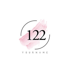 Number 122 watercolor stroke logo design vector