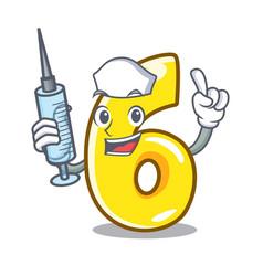 Nurse cartoon number six on the road vector