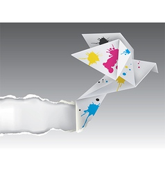 Origami bird with ink ripping paper vector