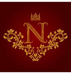 Patterned golden letter n monogram in vintage vector