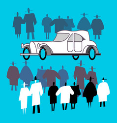 people view a retro car and crowd around it vector image