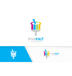 Pharmacy and brush logo combination vector