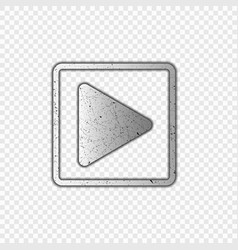 play button metallic transparent background vector image