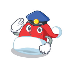 police christmas hat character cartoon vector image