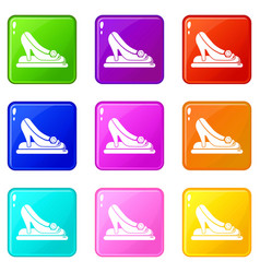 princess shoes icons set 9 color collection vector image