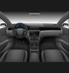 realistic car interior with rudder dashboard vector image