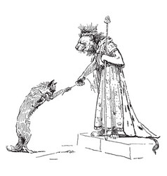 reynard fox proffering to king vintage vector image
