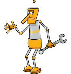 robot with wrench cartoon vector image
