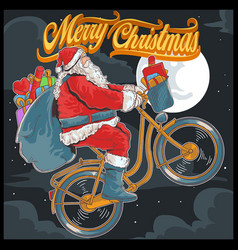 santa claus bike cycle vector image
