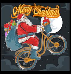 Santa claus bike cycle vector