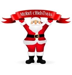 Santa Claus holding a ribbon with congratulation vector