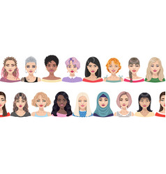seamless border with women faces vector image