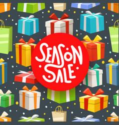 season sale concept different color gift boxes vector image