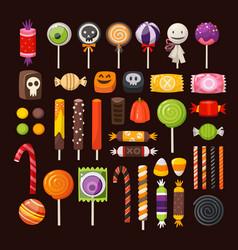 Set halloween candies vector