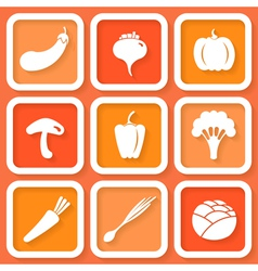 Set of 9 retro icons with vegetables vector image