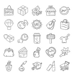 Shopping and e commerce line icons pack vector