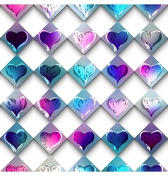 Sketch doodles hearts on checkered background vector