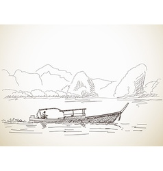 Sketch long tail boat vector