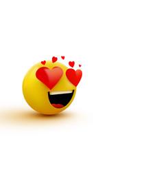 smile in love emoticon icon love hearts in eyes vector image
