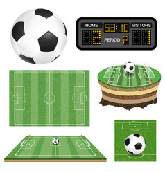 soccer football field ball and scoreboard vector image