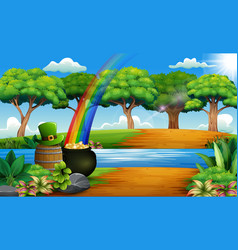 St patricks day nature landscape with a pot of go vector