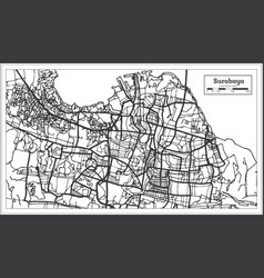 Surabaya indonesia city map in black and white vector
