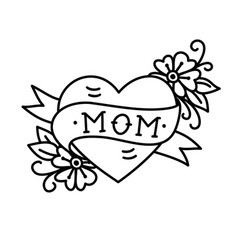 Tatoo with mom inscription in heart shape vector