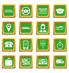 Taxi icons set green vector
