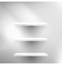 Three White empty shelves vector image