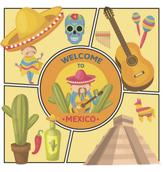 travel to mexico composition vector image