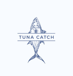 Tuna catch abstract sign symbol or logo vector