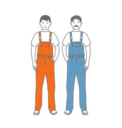 two figures of male workers vector image