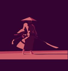Warrior character wearing hat and long sword vector