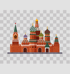 Welcome to russia st basil s cathedral on red vector