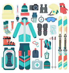 winter skiing equipment icons set travel vector image