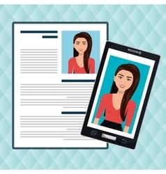 Woman smartphone find person cv vector