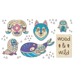 Wood animal figures Eco friendly toys vector image