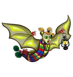 Cute cartoon halloween bat flying vector