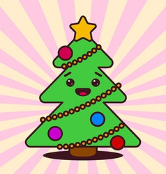 Kawaii Christmas tree with smiling face vector image