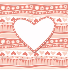 Valentines day greeting card with heart vector image