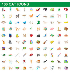 100 cat icons set cartoon style vector image
