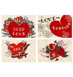 Collection of cards with flowers for Valentine vector image vector image