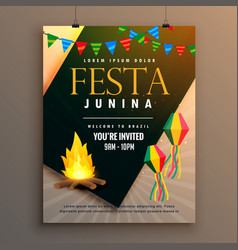 Festa junina party poster design holiday greeting vector