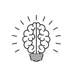 light bulb brain icon vector image vector image